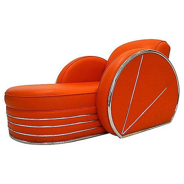 Vintage Art Deco Red & Chrome Chaise Lounge Chair - Image 4 of 4