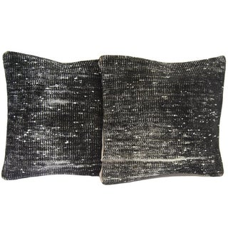 Vintage Black Handmade Overdyed Rug Pillow Covers - Pair