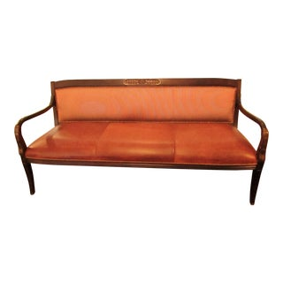 Red & Cream Leather & Upholstery Bench