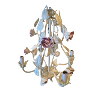 Italian Tole Four-Light Hand Enameled Chandelier