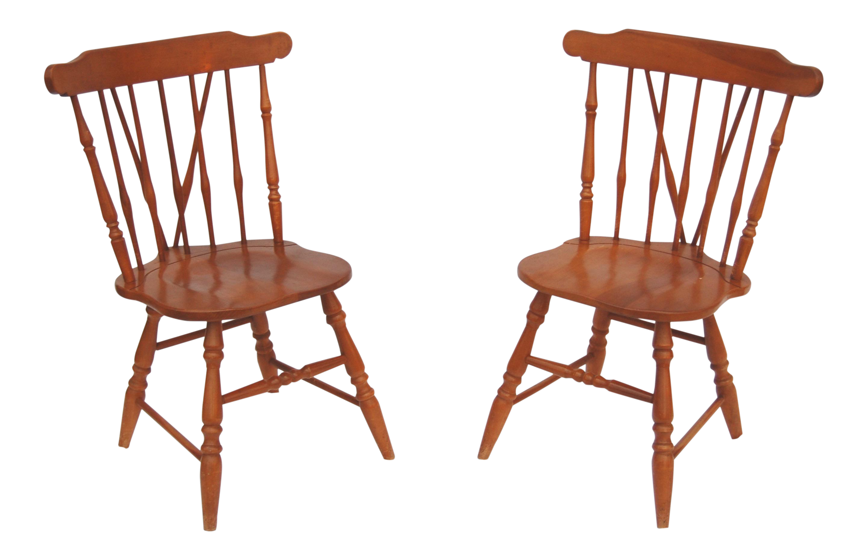 Brace Back Wooden Windsor Chairs   A Pair
