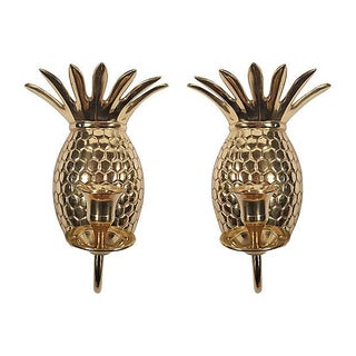 Pineapple Brass Sconces - A Pair