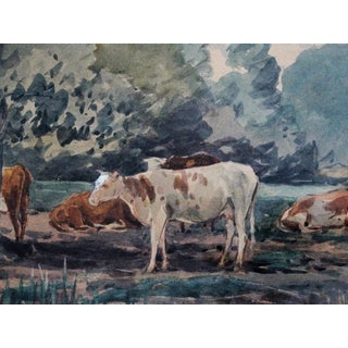 Cattle in Landscape Watercolor Painting