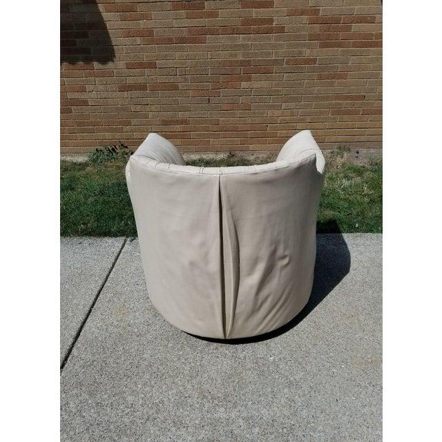 John Saladino for Baker Leather Swivel Lounge Chair - Image 4 of 11