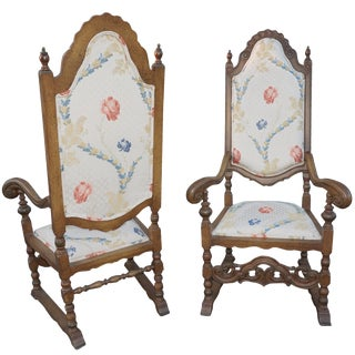 Royal Hand-Carved Church Chairs - Pair