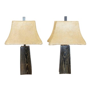 Cerused Oak Table Lamps by James Mont