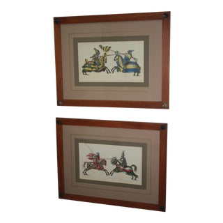 Framed Hand-Colored Prints of Jousters - A Pair