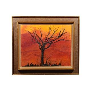 "Vintage Framed ""Autumn Sunset"" Oil Painting"