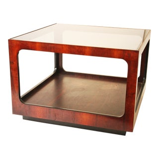 Mid Century Modern Lane Side Table with Glass Top