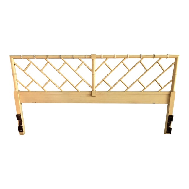 Henry Link Chippendale Yellow Bamboo King Size Headboard - Image 1 of 7