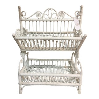 White Wicker Tiered Magazine Rack