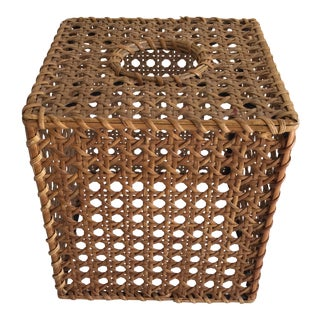 Vintage Wood Wicker Tissue Box Cover