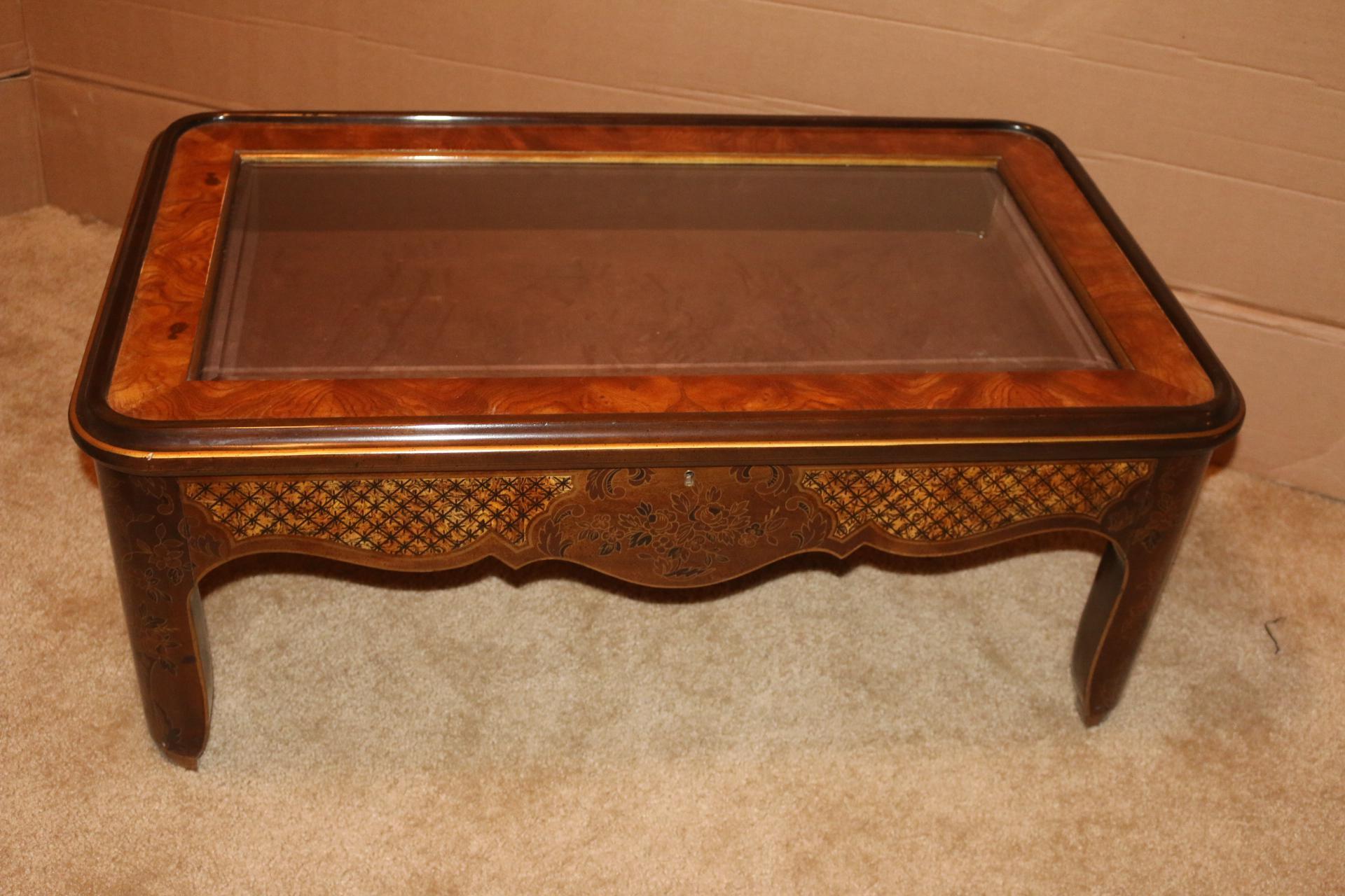 Drexel Curio Glass Top U0026 Burled Wood Coffee Table   Image 2 Of 11