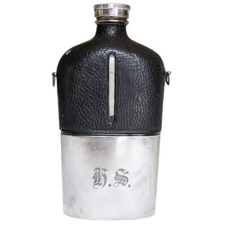 1890s Large James Dixon & Sons Silver-Plate Hip Flask