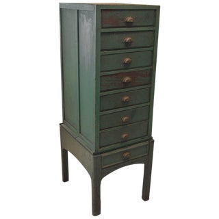 Green Painted Eight-Drawer Cabinet