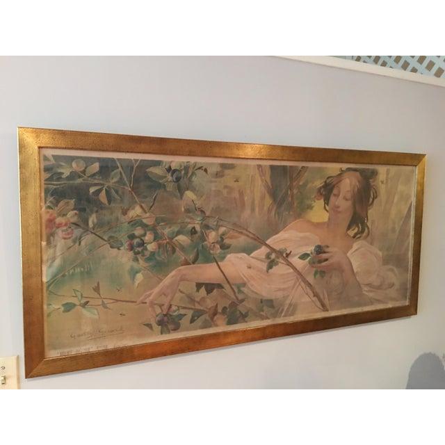 Art Nouveau 'Lady & Flowers' Poster - Image 2 of 10