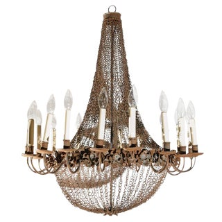 Large 18-Light Wire and Metal Chandelier
