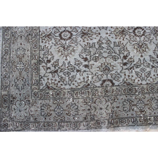 """Vintage Turkish Over-Dyed Gray Rug - 10' x 7'3"""" - Image 5 of 8"""