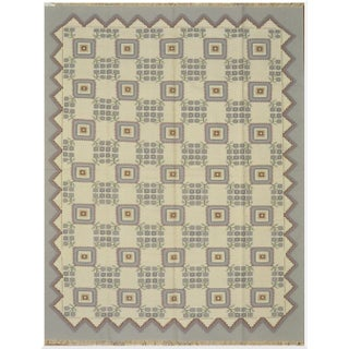 New Flat Weave Indian Dhurrie Rug - 9' x 12'