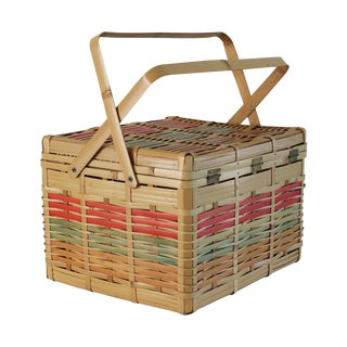 Vintage Multi-Colored Japanese Bamboo Basket