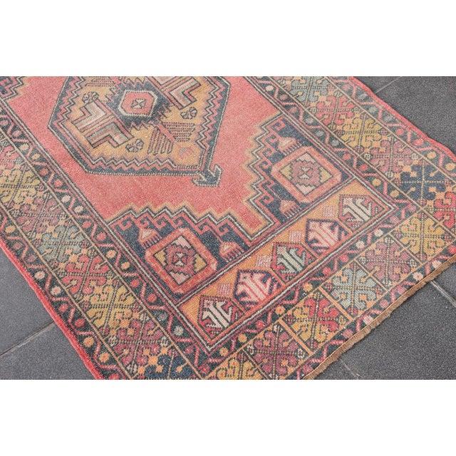"Vintage Turkish Handmade Anatolian Wool Carpet - 3'6"" X 5'6"" - Image 4 of 7"