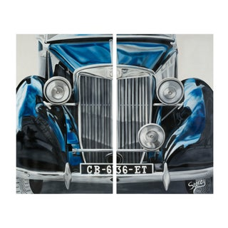 "Kristin Drohan Collection Storey Ellis ""Rolls Royce"" Diptych Painting"