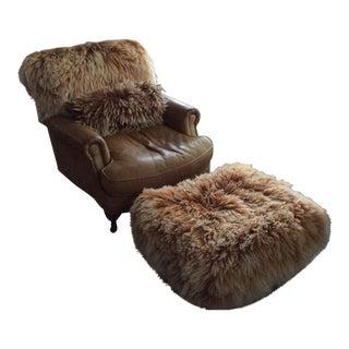 Rugged Leather Chair & Ottoman - A Pair
