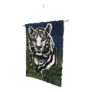 1970s Glam White Tiger Latch Hook Wall Hanging