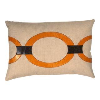 "Piper Collection Orange Metallic Linen ""Hunter"" Pillow"
