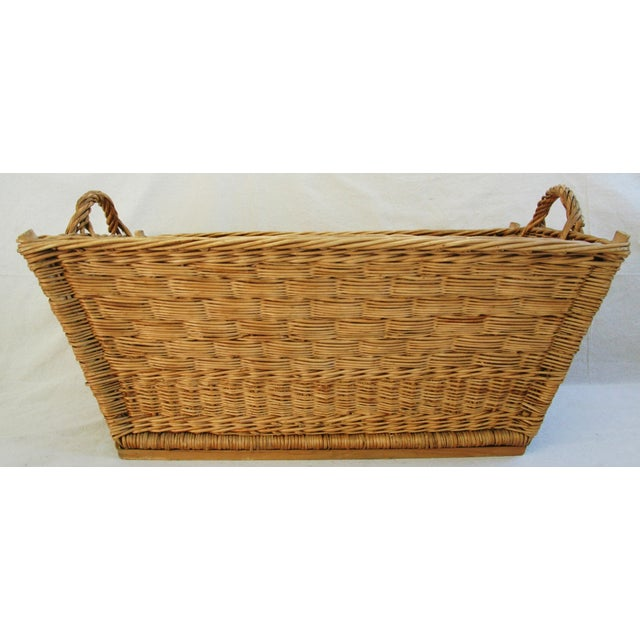 Early 1900s French Willow and Wicker Market Basket - Image 3 of 9