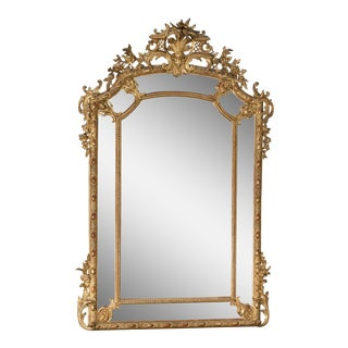 Large Antique French Gold Leaf Pareclose Mirror circa 1890