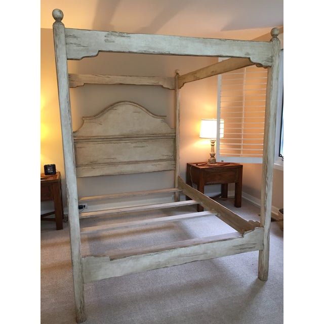 Image of Farmhouse Collection Queen Size Canopy Bed Frame