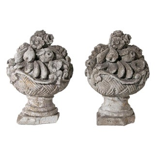 Pair of Mid Century French Cast Stone Cornucopia