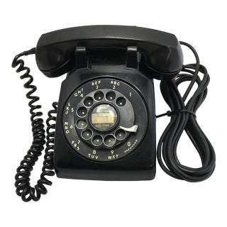 1956 Vintage Black Rotary Dial Desk Telephone