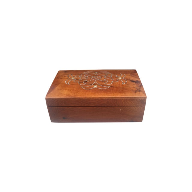 Image of Antique Metal & Pearl Inlay Decorative Box
