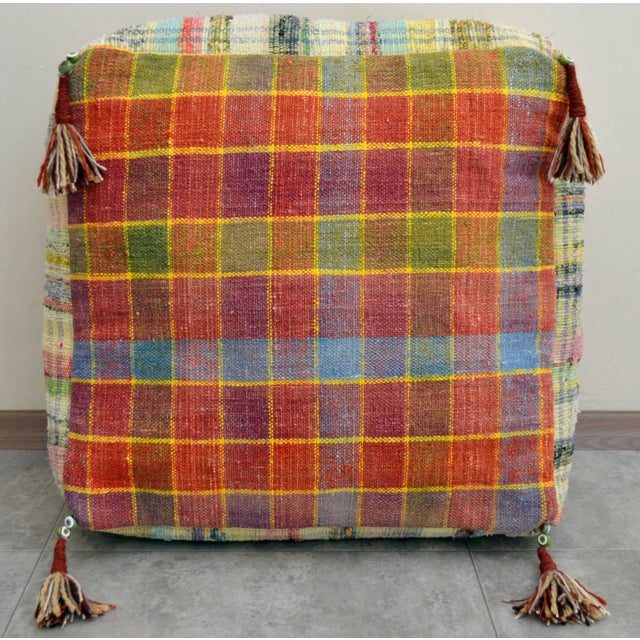 Hand Woven Kilim Floor Cushion Turkish Sitting Pillow- 22″ X 22″ - Image 5 of 8