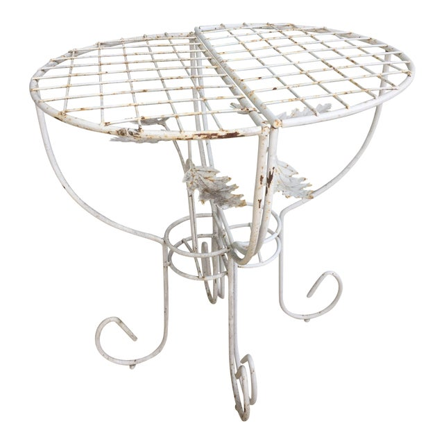 White Steel Mesh Coated Metal Demi-Lune Side Tables - a Pair - Image 1 of 6