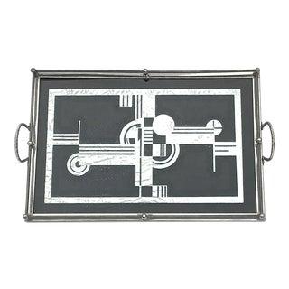Art Deco Geometric Silver Eglomise Tray