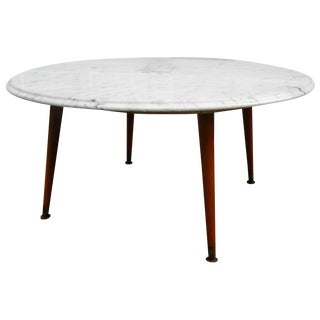 Mid-Century White Marble Cocktail Table