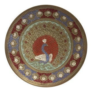 Decorative Boho Brass Peacock Plate