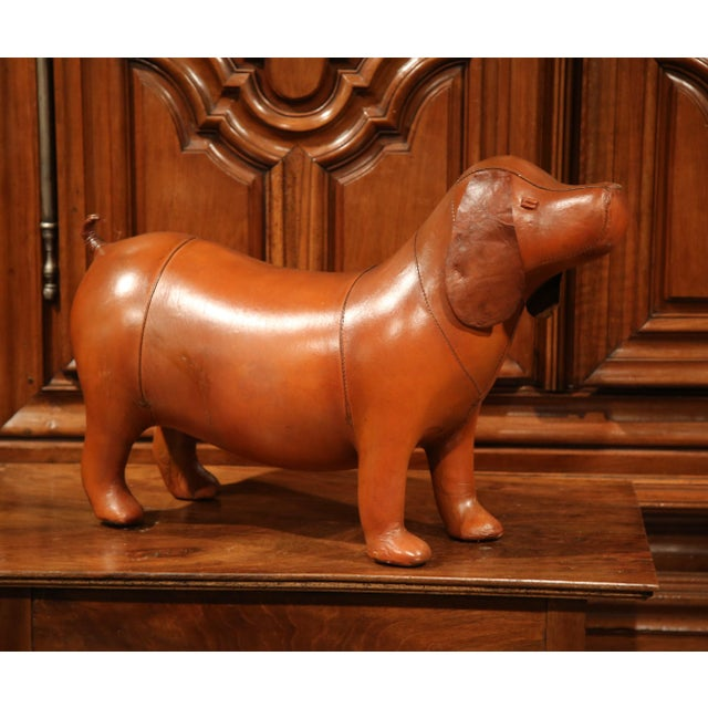 Large French Brown Leather Dog Footstool - Image 7 of 9