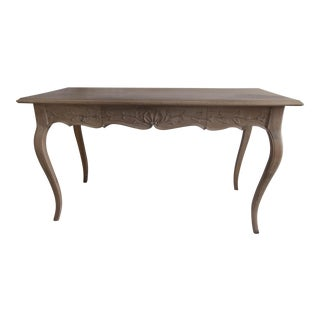 French Writing Table Fruitwood Dove White/Wash Gray One Drawer