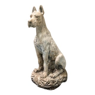 Antique French Guard Dog Statue