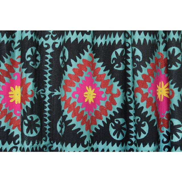 Vintage Teal Suzani Tapestry - Image 2 of 4