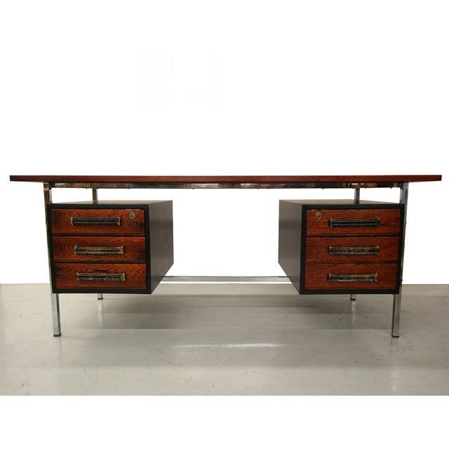 Mid-Century Floating Rosewood & Chrome Desk - Image 3 of 7