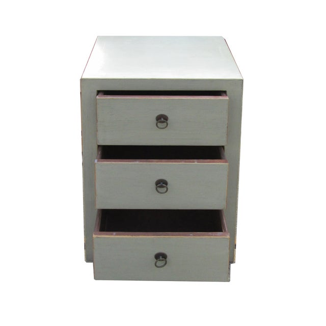 Chinese Light Gray 3-Drawer Cabinet Table - Image 4 of 4