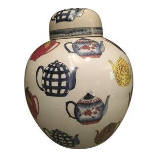 Ceramic Ginger Jar with Hand Painted Teapot Motif