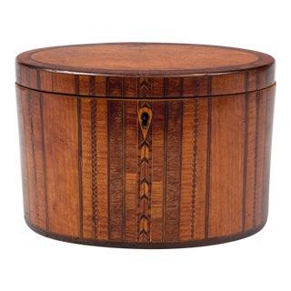 Fine Georgian Oval Inlaid Tea Caddy, Circa 1800