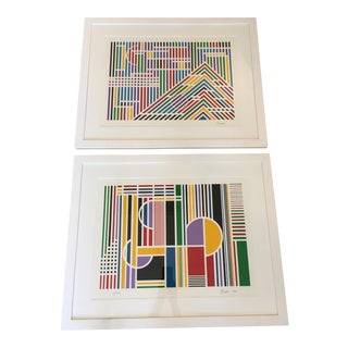 Framed Primary Color Serigraphs - A Pair