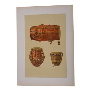 Antique Lithograph-Musical Instruments-Indian Drums-India